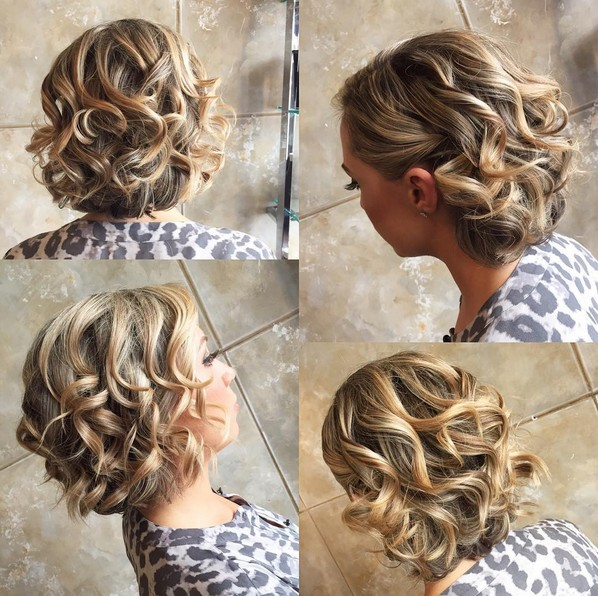 Homecoming Hairstyle With Short Curly Hair Balayage Styles