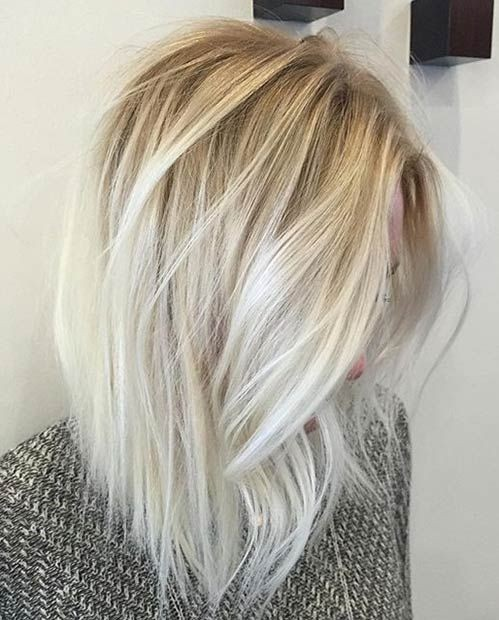 Ice Blonde LOB - Balayage Long Bob Hairsyles