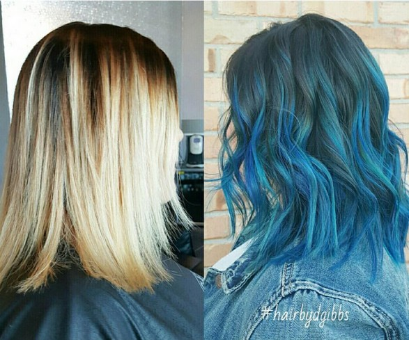 18 beautiful blue ombre colors and styles popular haircuts layered wavy haircut with shoulder length hair balayage ombre hair style urmus Choice Image