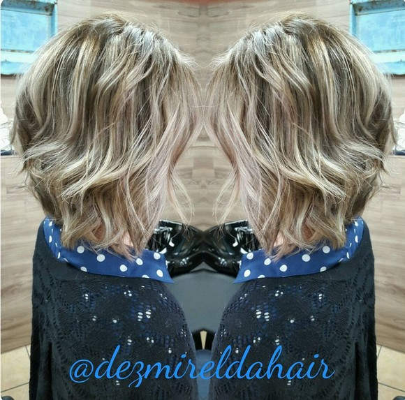 Layered, Wavy Long Bob Haircuts for Thick Hair - Balayage Hairstyle