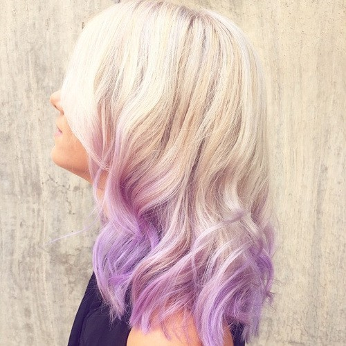 Light Lavender - Ombre Hairstyle with Medium Wavy Hair