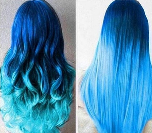Long Hair Color Ideas - Blue Ombre Hair