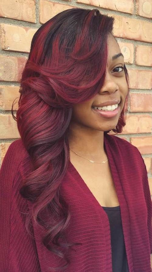 Long Red Hairstyle with Side Swept Bangs