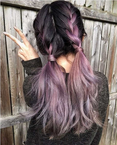cute haircuts and colors for long hair 20 purple ombre hair color ideas popular haircuts 5729 | Loose Braid with Low Ponytail Cute Hairstyles for Long Hair