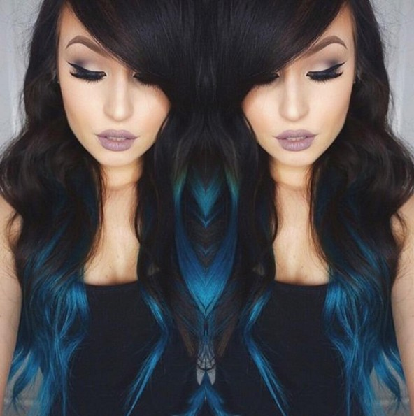 Medium Blue Ombré with Long Hair