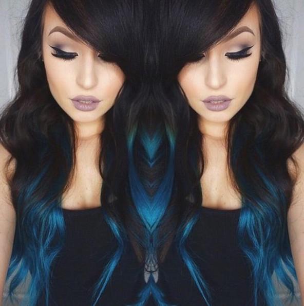 Medium Blue Ombré with Long Hair