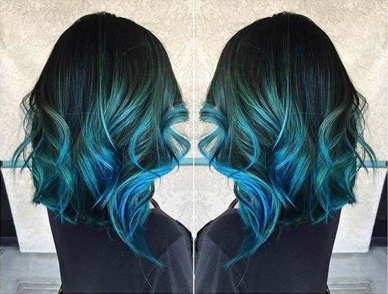 Medium, Curly Hairstyles for Thcik Hair - Teal Blue to Dark Blue Hair Color Idea