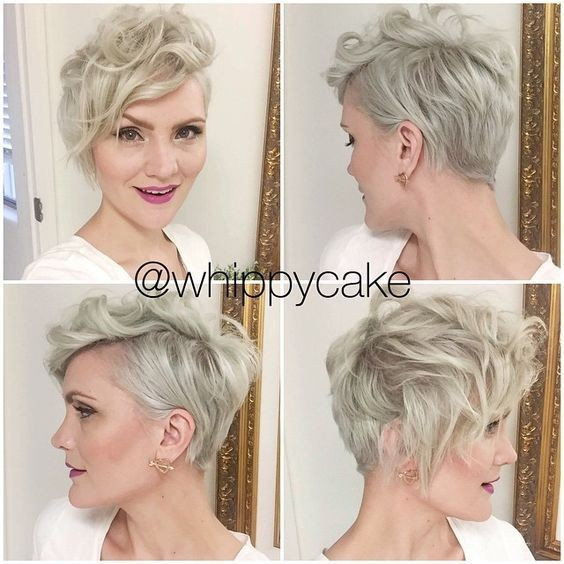 Messy, Layered Wavy Pixie Hairstyles with Side Bangs - Short Hairstyles for Women