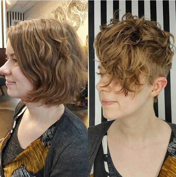 Pretty Curly Pixie Cut - Shaved Short Hairstyle with Long Bangs