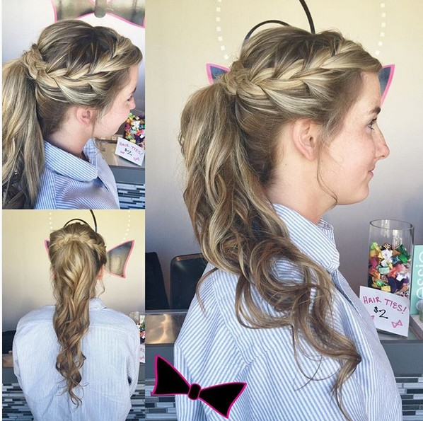 Pretty Prom Hairstyle Ideas for Long Hair - Braid Ponytail Hairstyle