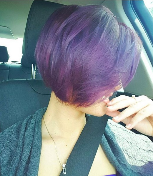 Purple Ombre Hair Style for Short Hair - Stylish Short Hairstyle Ideas