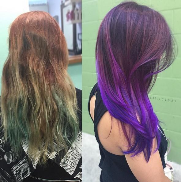 20 lila Ombre Haarfarbe Ideen
