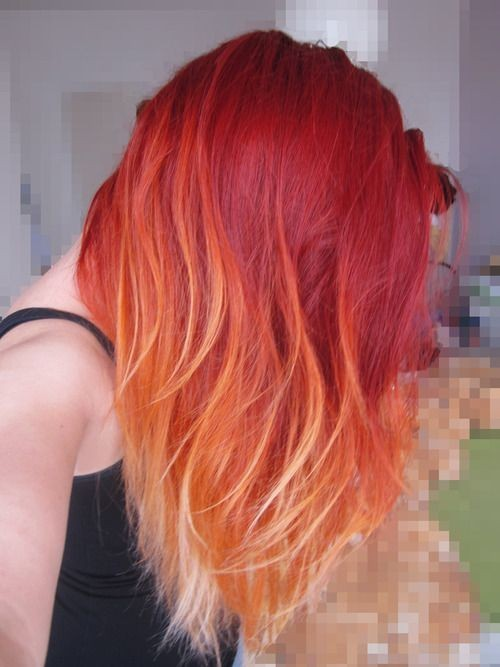 Red Ombre Hair - Red and Blonde