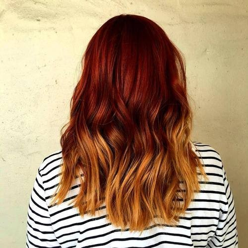 Red to Golden Blonde Ombre Hair - Medium Layered Hairstyle for Thick Hair