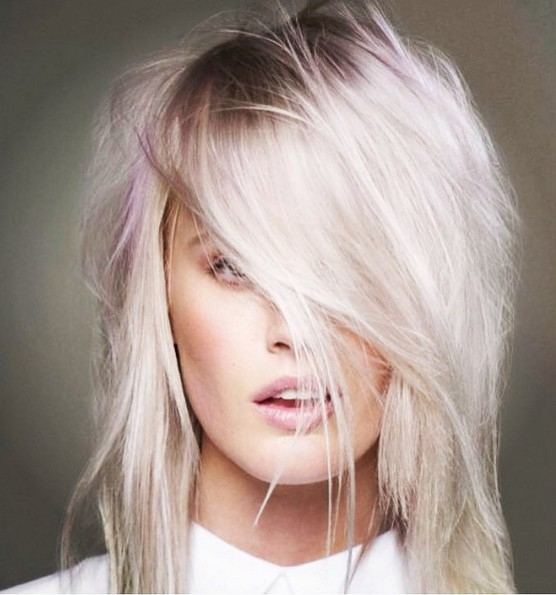 Shaggy, Medium Hairstyle for Thick Hair - Pink Balayage Hairstyles