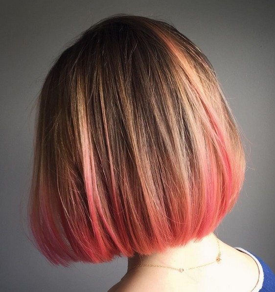 Straight Short Bob Hairstyle - Balayage Pink ends
