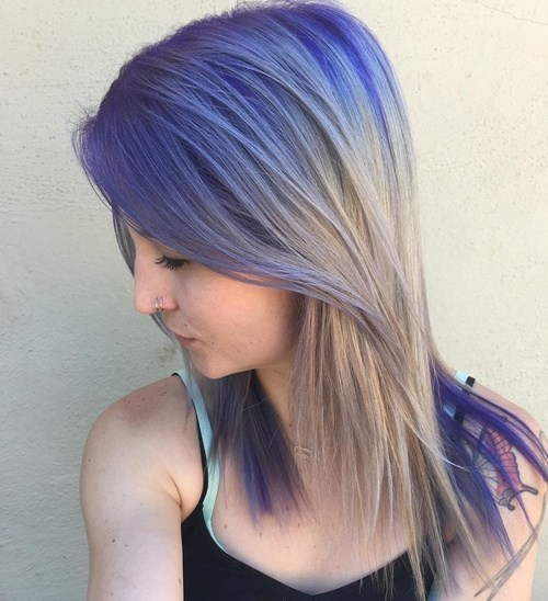 Stylish Hair Color with Shoulderr Length Hair - Ash Blonde and Dark Purple Ombre Hair