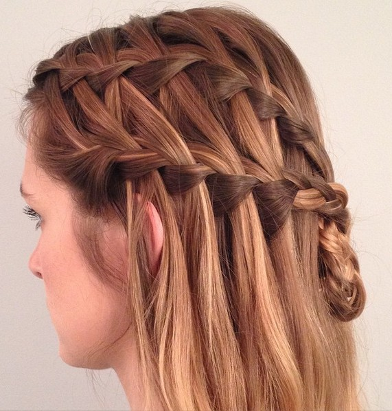 Waterfall Braids Half-Updo