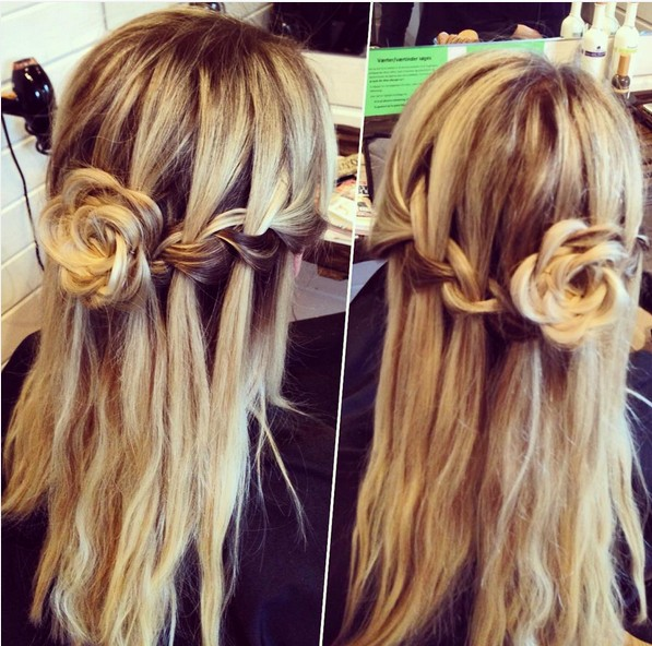 Waterfall-braid with rose-bun