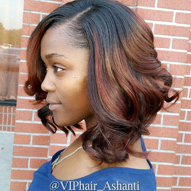 Wavy bob hairstyles on black hair with copper and gold sections - Balayage Hairstyle for African American Women 2016