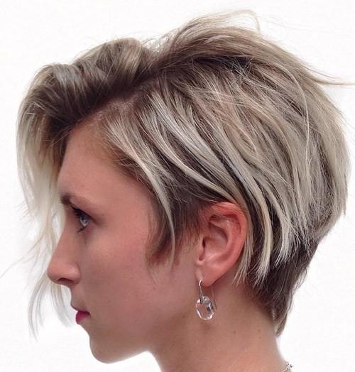 Asymmetrical Short Haircut with Sideswept Bangs