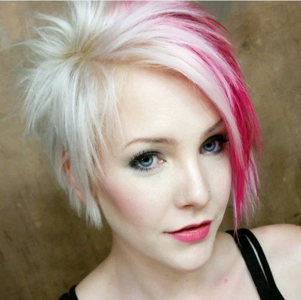 Aymmetrical, Long Pixie Cut - Light Blonde and Red Hair