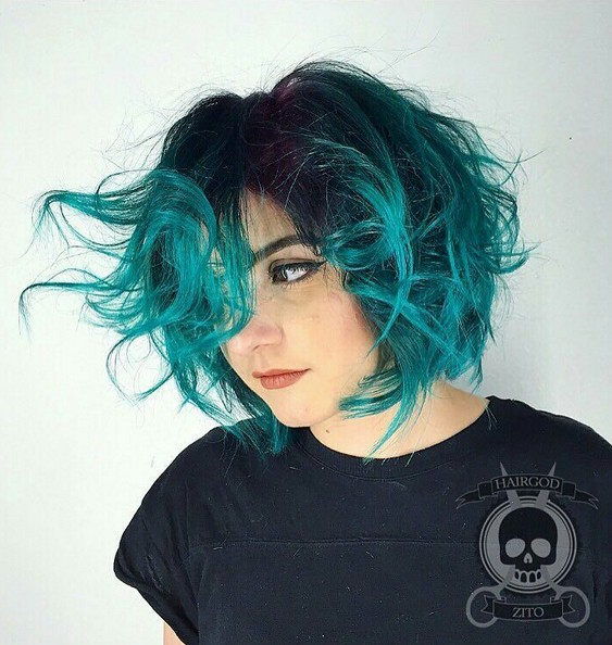 Blue Ombre Bob Hair Style