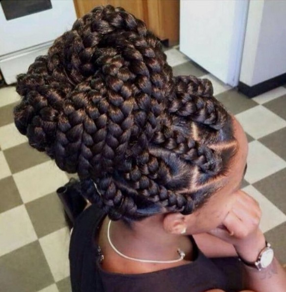 Jumbo Box Braids - African American Braided Hairstyles with Updos