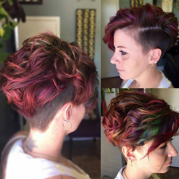Messy Curly Short Haircuts For Thick Hair Balayage Undercut With Short Hair Popular Haircuts