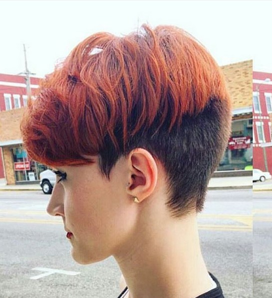 Pixie Haircut Side View - Balayage Ombre Hairstyle with Short Hair