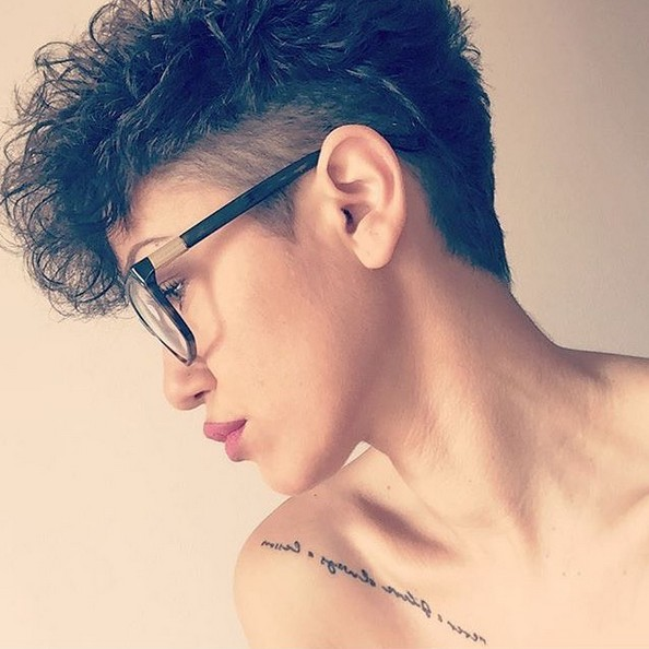 Pretty, Shaved Pixie Haircuts for Curly Hair