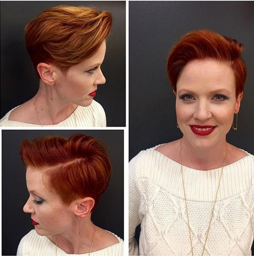 Red Pixie Haircut with Side Long Bangs - Short Hairstyles for Women Over 40