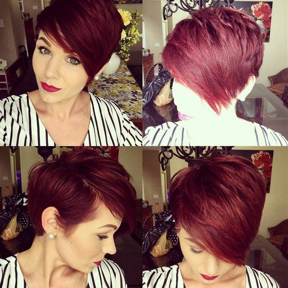 Red Short Hairstyle with Side Swept Bangs - Gorgeous Color - Short Thick Haircuts for Summer