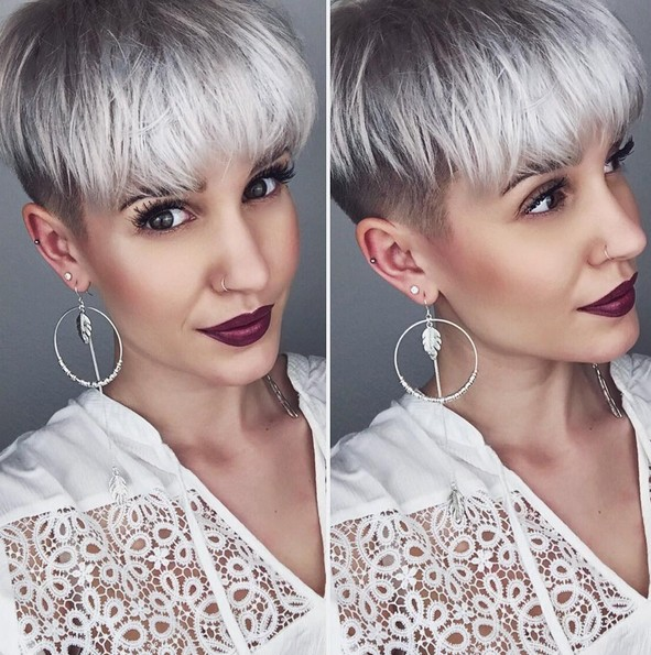 Shaved Pixie Haircuts for Platinum Grey Hair - Pretty Short Hairstyle for Summer
