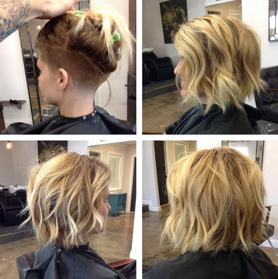 Tousled Messy Short Bob Haircut - Shaved Bob Hair Styles