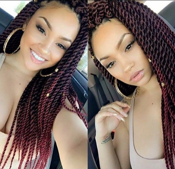 Twists Braid Hair Style - African American Women, Girl Hairstyle Designs - Ombre Balayage