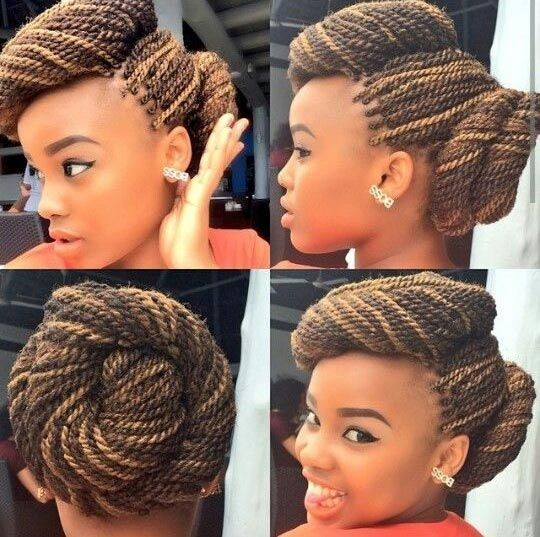 Two Twisted Buns on Senegalese Twists - perfect updo - African American Braid