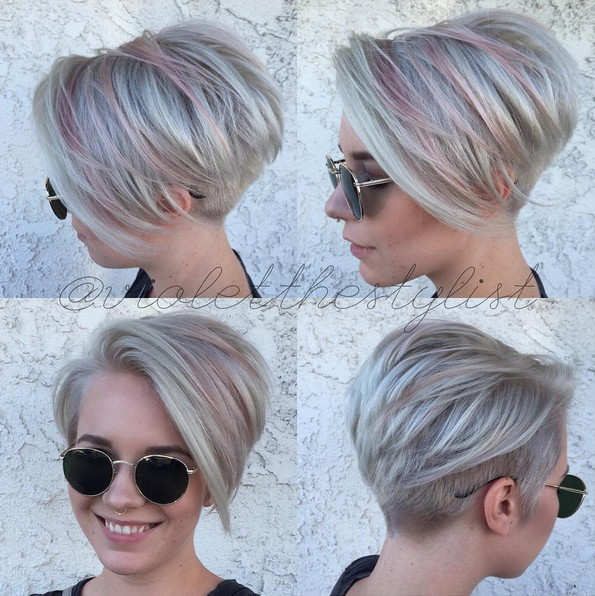 short straight layered cut with feathered bangs