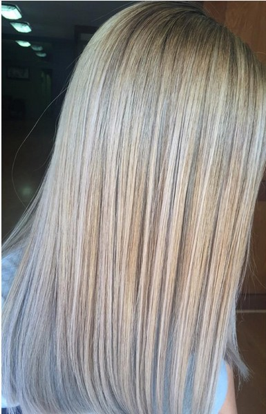 Balayage Highlights - Smokey blonde - Toned with simply blonde sheer tones in ice