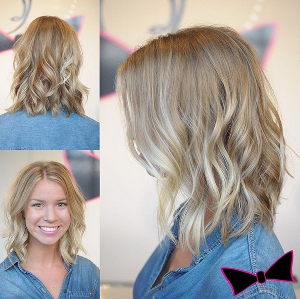 Balayage highlights with a pearl glaze for gorgeous Cami! Medium Wavy Hairstyles for Thin Hair