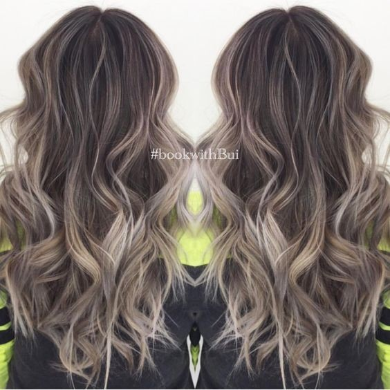 Beautiful Curly Hairstyles with Long Hair - Cool Tone Ash Blonde Highlighted Balayage