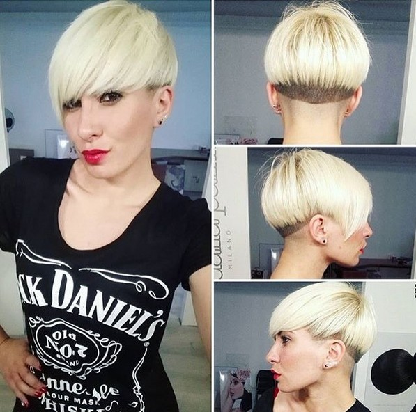 Blonde Bowl Cut - Frauen kurze Frisuren mit Pony