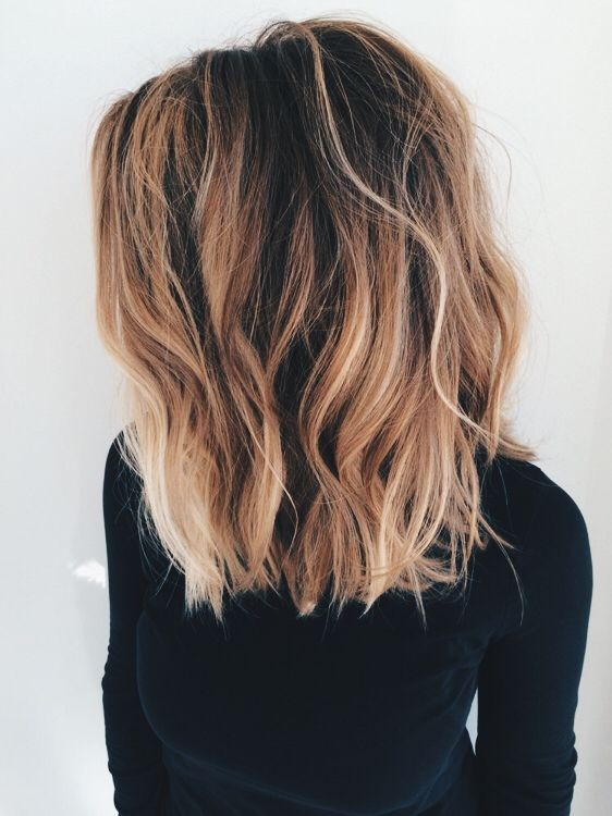 Blunt Long Lob Hair Cut For Thick Ombre Balayage Hairstyles