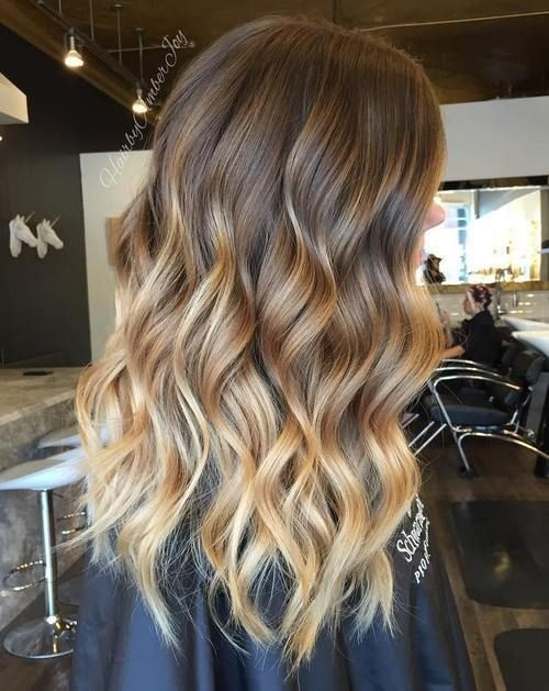 Brown, Caramel and Blonde Balayage Highlights - Ombre Long Hairstyles