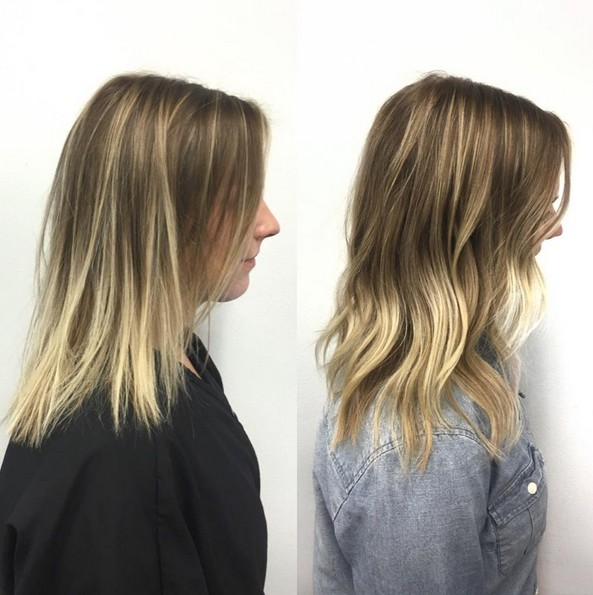Casual Medium Length Haircut - Brown and Blonde