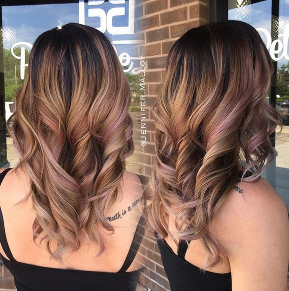 Curly Long Hairstyles - Pink Balayage Highlights