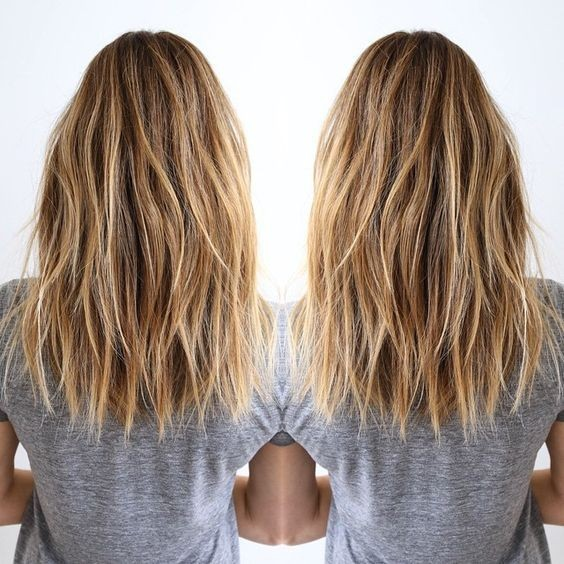 Easy,Blonde Long Lob Haircut - Shaggy, Balayage Medium Hairstyle