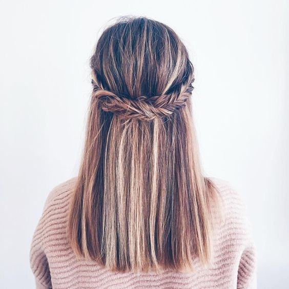Fishtail braid, Half up half down hairstyle, Balayage Prosecco and Plaid
