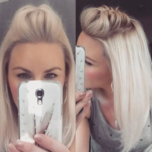 Lob Hair Styles - Pompadour Hairstyle for Thin Hair - Medium Hairstyles with Braid