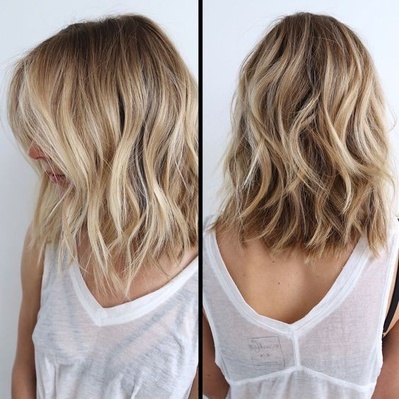 Messy, Wavy Lob Hairstyle - Side, Back View, Balayage Lob Hair Style